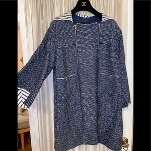 Chanel tweed blue long jacket with zippers